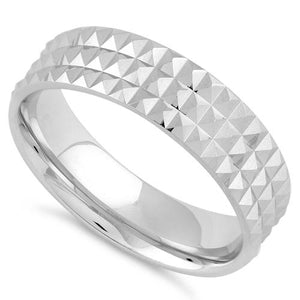 Sterling Silver Diamond Cut Pyramid Pattern Wedding Band Ring