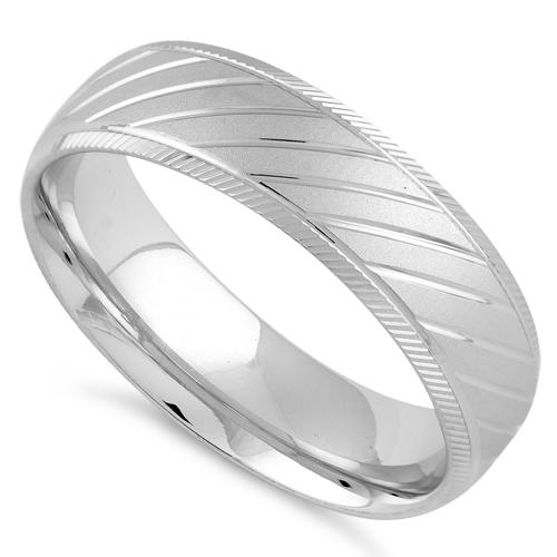 Sterling Silver Diamond Cut Slanting Lines Wedding Band Ring