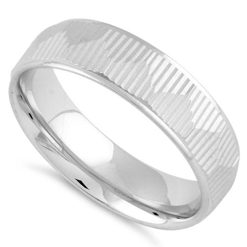 Sterling Silver Diamond Cut Triangle Lines Wedding Band Ring