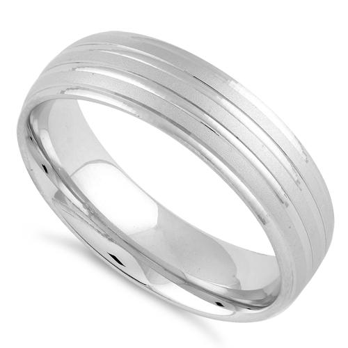 Sterling Silver Diamond Cut Triple Layer Brushed Wedding Band Ring