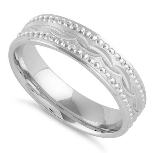 Sterling Silver Diamond Cut Wavy Wedding Band Ring
