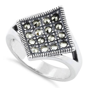 Sterling Silver Diamond Marcasite Ring