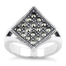 Load image into Gallery viewer, Sterling Silver Diamond Marcasite Ring