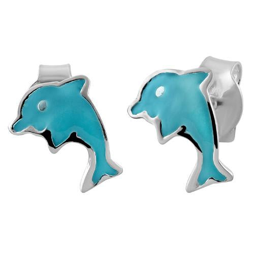 Sterling Silver Blue Enamel Dolphin Earrings