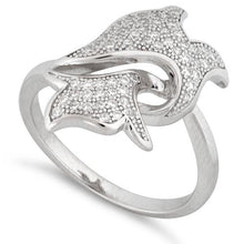 Load image into Gallery viewer, Sterling Silver Dolphin Pave CZ Ring