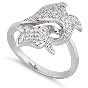 Sterling Silver Dolphin Pave CZ Ring