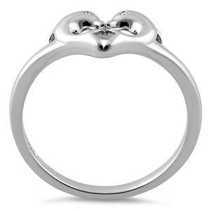 Sterling Silver Dolphins Heart Ring