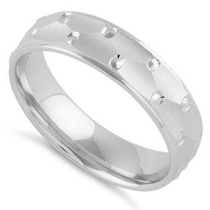 Sterling Silver Dots Pattern Wedding Band Ring