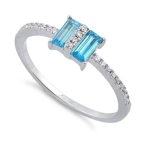 Sterling Silver Double Baguette Straight Cut Blue Topaz & Clear CZ Ring
