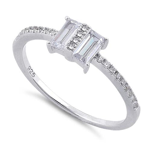 Sterling Silver Double Baguette Straight Cut Clear CZ Ring