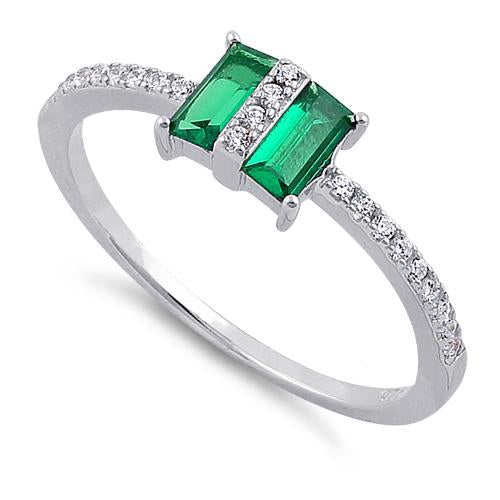 Sterling Silver Double Baguette Straight Cut Emerald & Clear CZ Ring