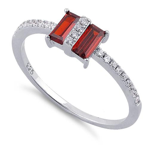 Sterling Silver Double Baguette Straight Cut Garnet & Clear CZ Ring
