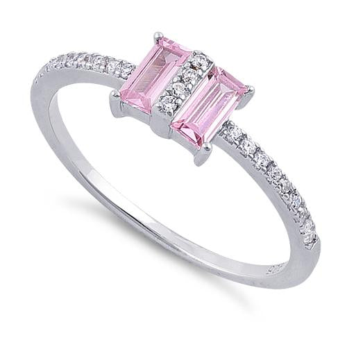 Sterling Silver Double Baguette Straight Cut Pink & Clear CZ Ring