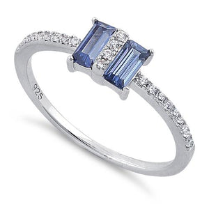 Sterling Silver Double Baguette Straight Cut Tanzanite & Clear CZ Ring