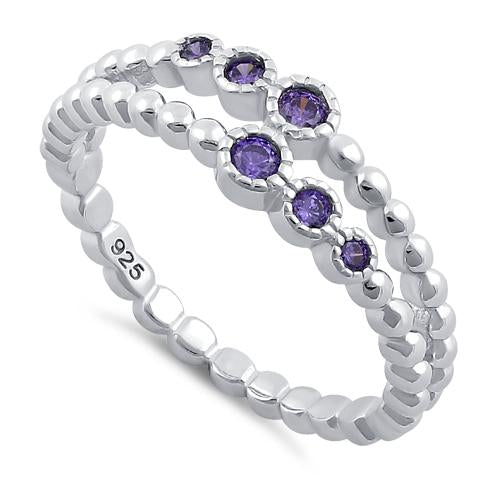 Sterling Silver Double Beaded Amethyst CZ Ring