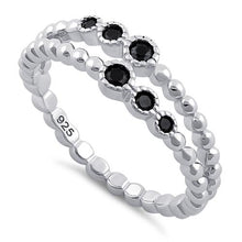 Load image into Gallery viewer, Sterling Silver Double Beaded Black CZ Ring