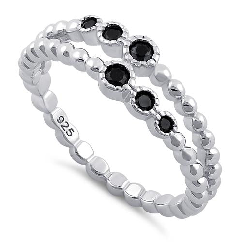 Sterling Silver Double Beaded Black CZ Ring