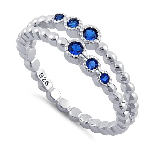 Sterling Silver Double Beaded Blue Spinel CZ Ring