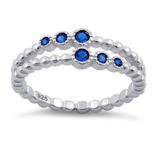 Load image into Gallery viewer, Sterling Silver Double Beaded Blue Spinel CZ Ring