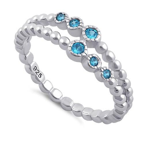 Sterling Silver Double Beaded Blue Topaz CZ Ring