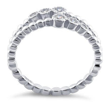 Load image into Gallery viewer, Sterling Silver Double Beaded Clear CZ Ring