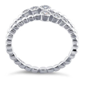 Sterling Silver Double Beaded Clear CZ Ring