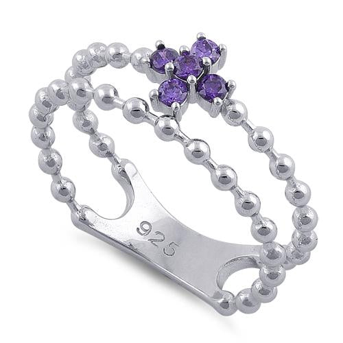Sterling Silver Double Beaded Cross Amethyst CZ Ring