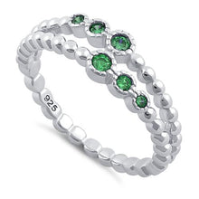 Load image into Gallery viewer, Sterling Silver Double Beaded Emerald CZ Ring