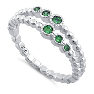 Sterling Silver Double Beaded Emerald CZ Ring