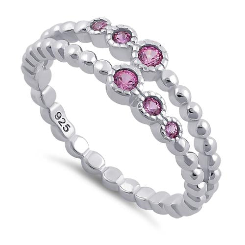 Sterling Silver Double Beaded Pink CZ Ring