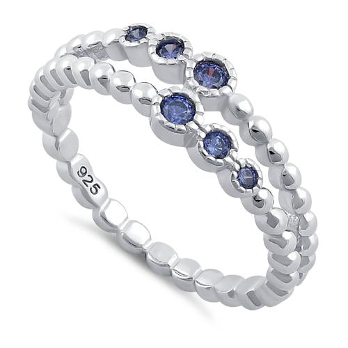 Sterling Silver Double Beaded Tanzanite CZ Ring