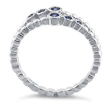 Load image into Gallery viewer, Sterling Silver Double Beaded Tanzanite CZ Ring
