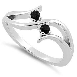 Sterling Silver Double Black Round Cut CZ Ring