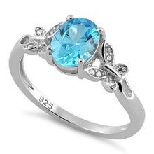 Load image into Gallery viewer, Sterling Silver Double Butterfly Aqua Center Stone CZ Ring