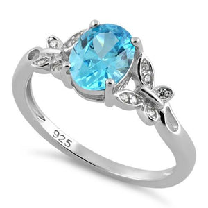 Sterling Silver Double Butterfly Aqua Center Stone CZ Ring