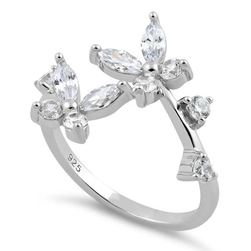 Sterling Silver Double Butterfly CZ Ring