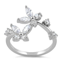 Load image into Gallery viewer, Sterling Silver Double Butterfly CZ Ring