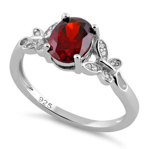 Sterling Silver Double Butterfly Garnet Center Stone CZ Ring