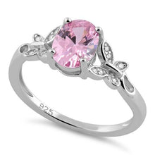 Load image into Gallery viewer, Sterling Silver Double Butterfly Pink Center Stone CZ Ring