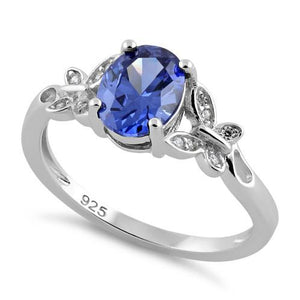 Sterling Silver Double Butterfly Tanzanite Center Stone CZ Ring