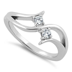 Sterling Silver Double Clear Round Cut CZ Ring