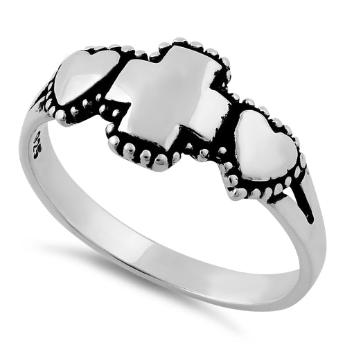 Sterling Silver Double Heart Cross Ring