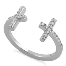Load image into Gallery viewer, Sterling Silver End to End Cross Open CZ Ring