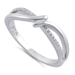 Sterling Silver Double Curve Clear CZ Ring