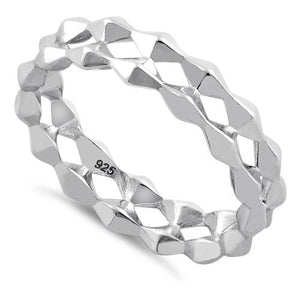 Sterling Silver Double Diamond Shaped Eternity Ring