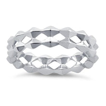 Load image into Gallery viewer, Sterling Silver Double Diamond Shaped Eternity Ring