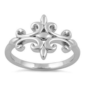 Sterling Silver Double Fleur de Lis Ring