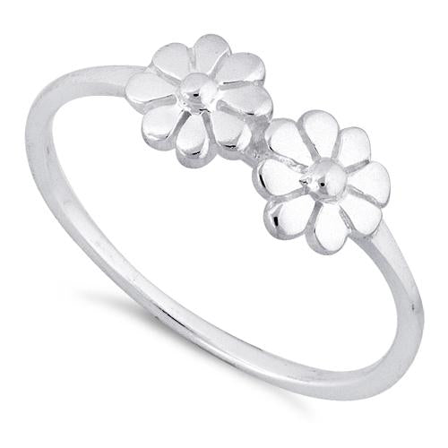 Sterling Silver Double Flower Ring