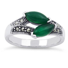 Load image into Gallery viewer, Sterling Silver Double Green Agate Seed Marcasite Ring