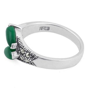 Sterling Silver Double Green Agate Seed Marcasite Ring